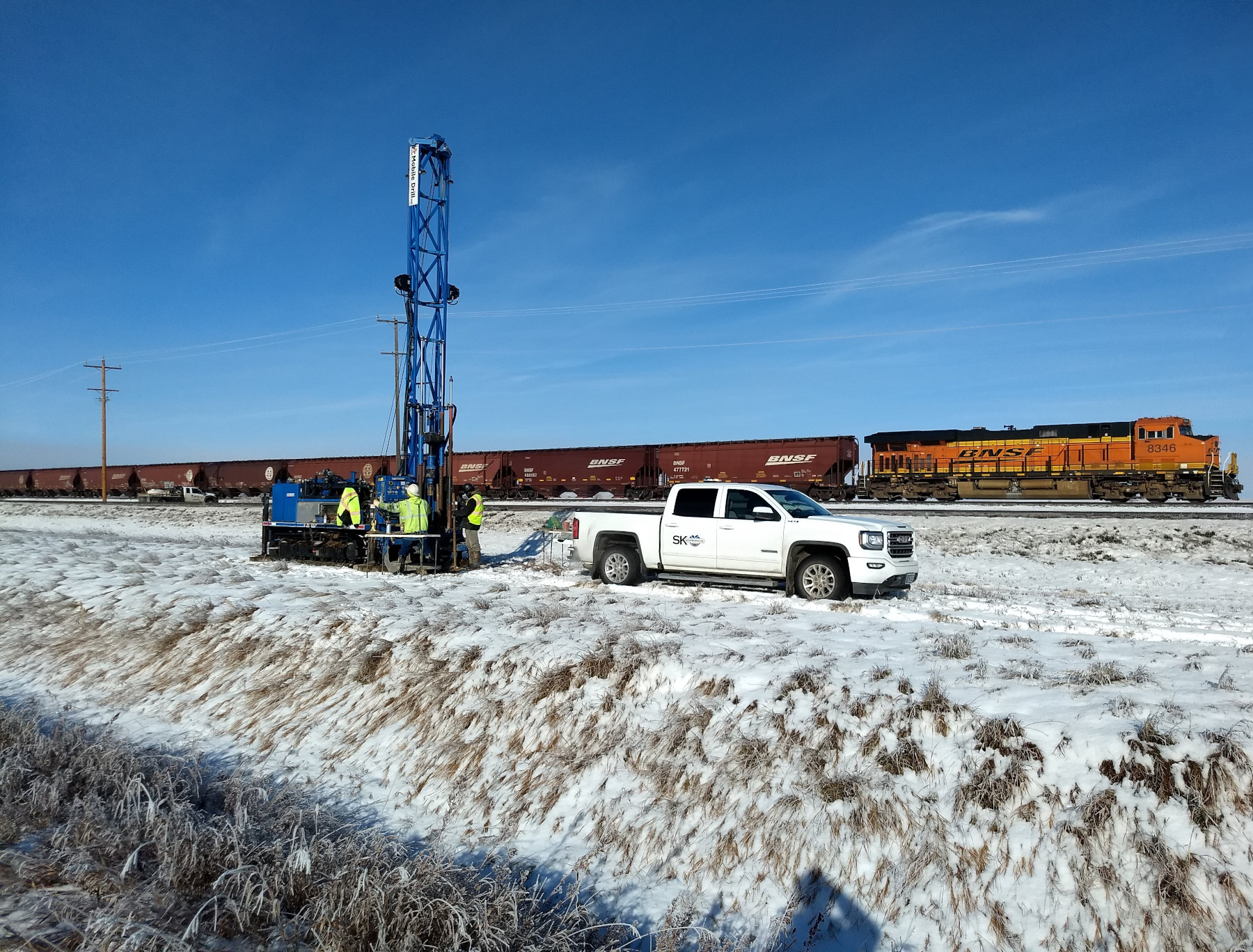 SK Geotechnical drills boring for Chinook East project with B57 Mobil Drillrig in winter